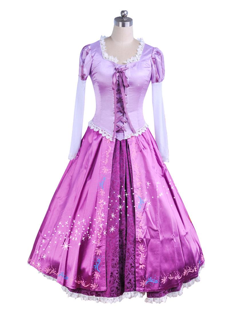 Disney Rapunzel Cosplay Fairytale Tangled Princess Dress Costume