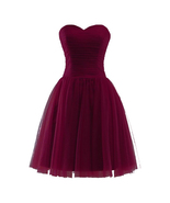 Off Shoulder Mini Prom Dresses Burgundy Homecoming Dresses Short Party G... - $50.00