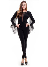 Black Womens Fringe Long Sleeve Cutout Open Back Bodycon Bodysuit Jumpsu... - $19.99