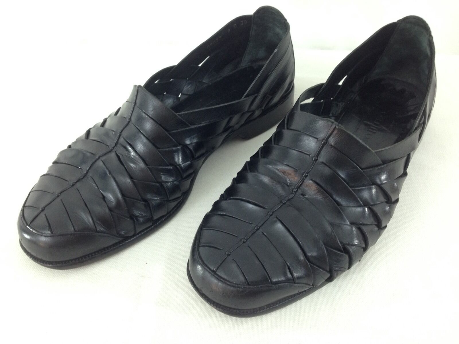Primary image for Cole Haan 03022 Mens sz 9 D Black Leather Weave Slip On Huarache Loafer Shoes
