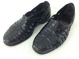 Cole Haan 03022 Mens sz 9 D Black Leather Weave Slip On Huarache Loafer ... - $48.51