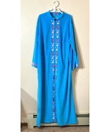 Evelyn Pearson Robe Blue Velour Half Zip Lounge - $39.59