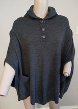 Theory 100% Wool Charcoal Gray Poncho Sweater One Size - $99.74