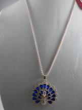 NEW Betsey Johnson Rhinestone Dk. Blue Peacock Pendant on lo... - $24.50