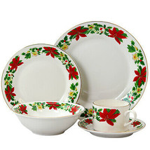 Gibson Home Poinsettia Holiday 20 Piece Ceramic Dinnerware Set - $98.97