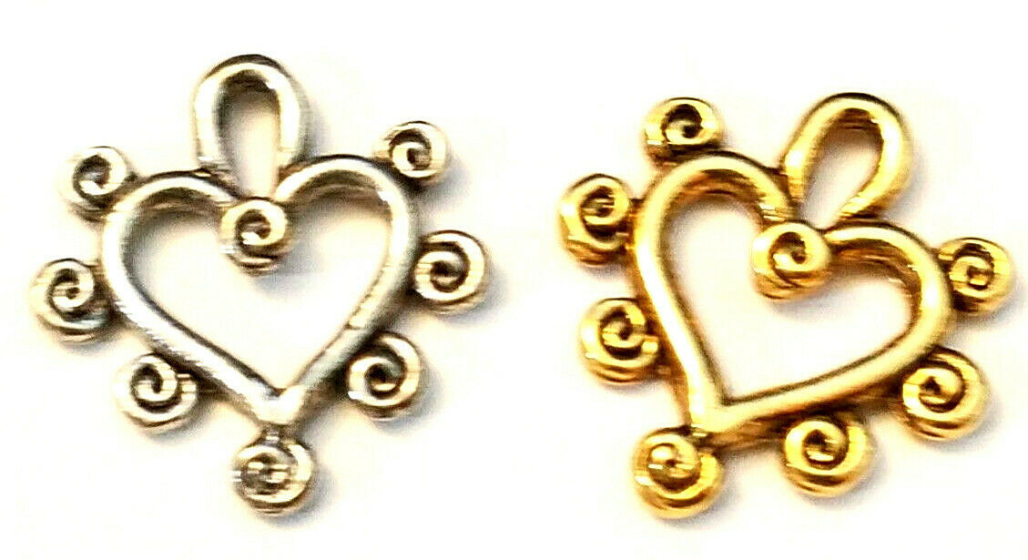 HEART WITH SWIRLS FINE PEWTER PENDANT CHARM