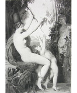 NUDE Mythology Nymph Playing with Young Bacchus - Victorian Era Print - $9.45