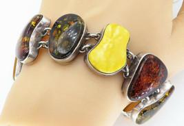 925 Sterling Silver - Vintage Baltic & Egg Yolk Amber Chunky Bracelet - ... - $234.59
