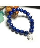 Natural Kyanite Blue Crystal Cat Eye Beads Silver Tree of Life Stretch B... - $79.15