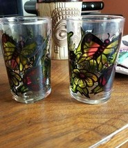 1973 Mod Butterfly Floral Retro Groovy small glass pair Faroy inc Housto... - $7.87