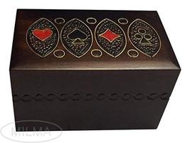 Playing Card Wooden Box Polish Handmade Wooden Keepsake Double Deck Holder Box - $29.69