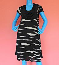 Kensie Cowl Neck T Shirt Dress Womens M 8 10 12 Animal Print Drape Overl... - $18.76