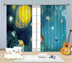 3D Planet Cosmos 0021 Blockout Photo Curtain Print Curtains Drapes US Lemon - $177.64+
