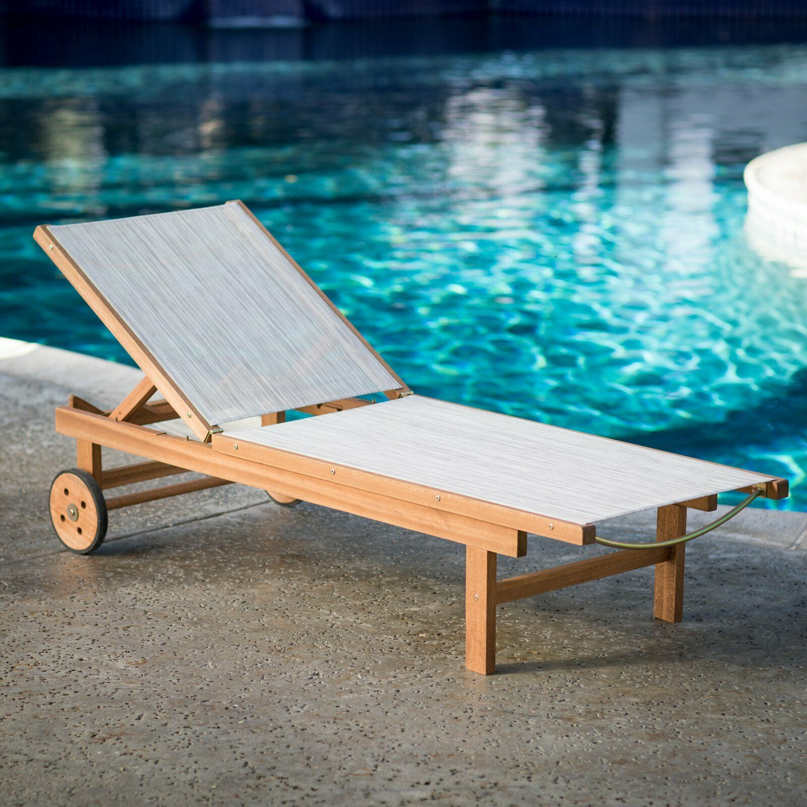 Natural Finish Eucalyptus Wood Sling Chaise Lounge Outdoor Pool Lounger w/Wheels image 6