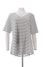 Isaac Mizrahi 2Pc Pima Solid Striped Tops Black White S NEW A349269 - $26.71