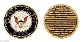 "NAVY MILITARY SAILORS CREED 1.75""  COLOR NAVY LOGO CHALLENGE COIN - $16.24"