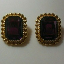Signed Sarah Coventry Purple Faceted Stone Rectangular Clip-on Earrings - $17.81