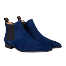 New Handmade Men's Blue Chelsea Boots, Genuine Suede Chelsea Leather 2017 - $3.355,37 MXN+