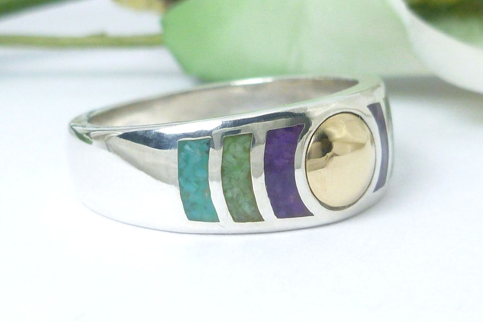 Stoneform Sterling/14K Multi-gemstone Opaque Ring Size 7