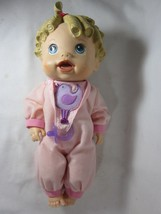 "Hasbro Baby Alive Baby All Gone 14"" Talking Interactive Pink Pajamas 2009 - $19.79"