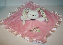 Carters BUNNY RABBIT Security Blanket Pink Rattle Flowers Polka Dot Knot... - $21.19