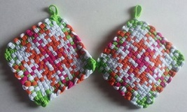 Handmade Pot Holders Hot Pads Loom Loop Woven Potholders Custom Trivet C... - $9.99