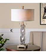 "29"" STATELY TRANSPARENT SMOKE GRAY GLASS TABLE LAMP LINEN NICKEL FOOT LIGHT - $257.40"