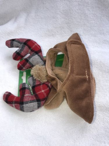Christmas Costume Cat Antlers Plaid Cap Hat Pet Clothes One Size NWT Time 4 Joy