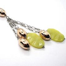Silver necklace 925, Oval Pink, Jasper Green Wavy, Cluster Pendant image 3