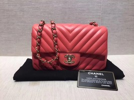 AUTH NEW Chanel RARE PINK CHEVRON Quilted LAMBSKIN Large Mini 20CM Flap Bag SHW