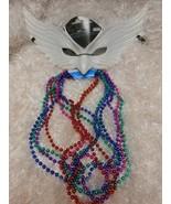 New sexy white Shrove Mardi-Gras eye Mask & 8 beaded necklaces multi-colors - $8.42