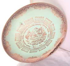 VINTAGE Blue green TAYLOR SMITH TAYLOR 1957 CALENDAR PLATE Kitsch Windmi... - $29.67