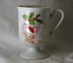 Christmas Santa Mouse Holiday Footed Mug Holly Ceramic - $5.88