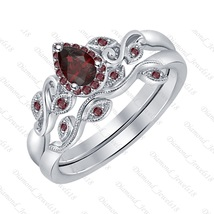 6x8mm Pear Cut Red Garnet 14K White Gold Over Wedding Bridal Ring Set for Women - $111.99+