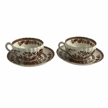 Spode India Tree China Made In England Footed Cup & Saucers Coffee Tea 2 Sets - $32.45