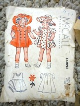 "vintage McCALL 22""  DOLL CLOTHES PATTERN small envelope DRESS HAT marked... - $34.95"