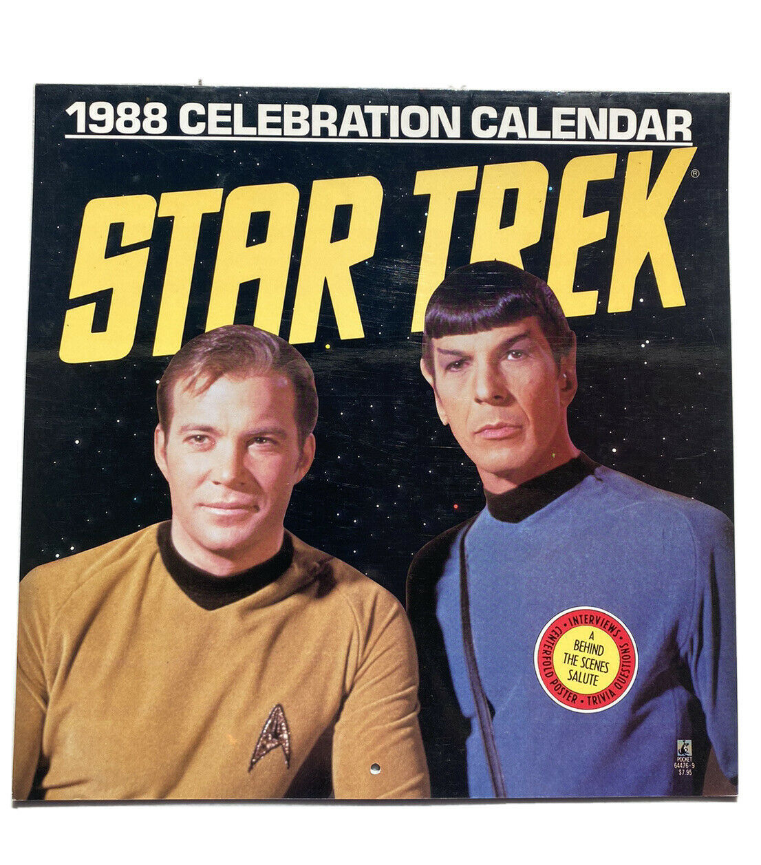 1988 Star Trek Calendar Pocket Books Wall Hanging - Unused - $11.96