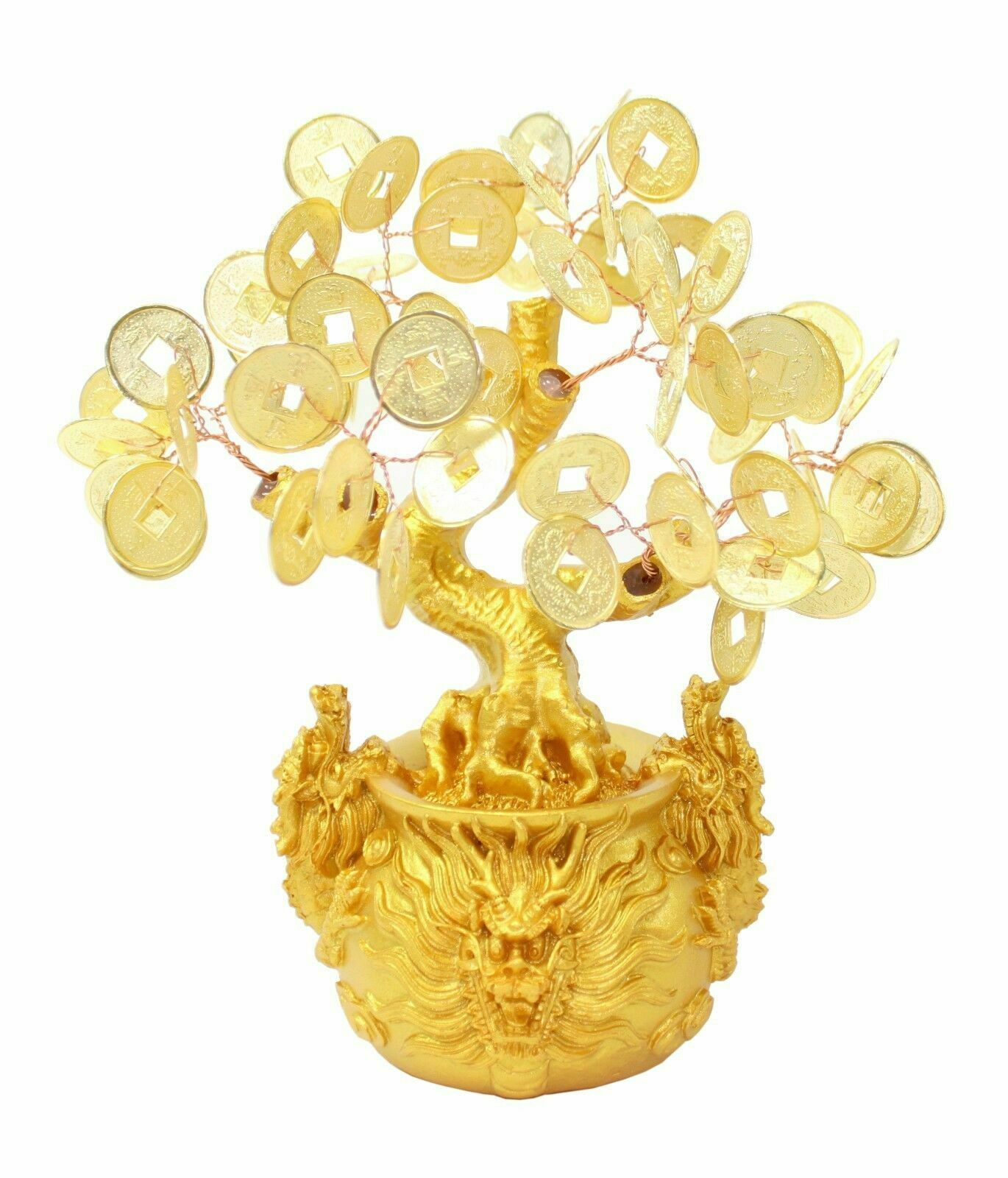 """7"""" Feng Shui Gold Money Coins Tree in Dragon Pot Wealth Blessing"""