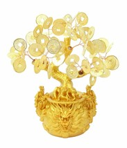 """7"""" Feng Shui Gold Money Coins Tree in Dragon Pot Wealth Blessing  image 1"""