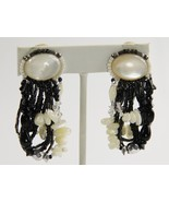 ESTATE VINTAGE SIGNED CHIPITA JOAN EAGLE CLIP EARRINGS MOTHER OF PEARL ONYX - $55.00