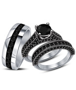 His Her Wedding Anniversary Black Diamond Trio Ring Set White Finish 925... - £119.27 GBP