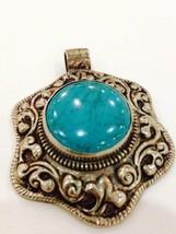 Silver Bronze Large Repose Vintage Genuine Tibet Turquoise Pendant Necklace - $84.15