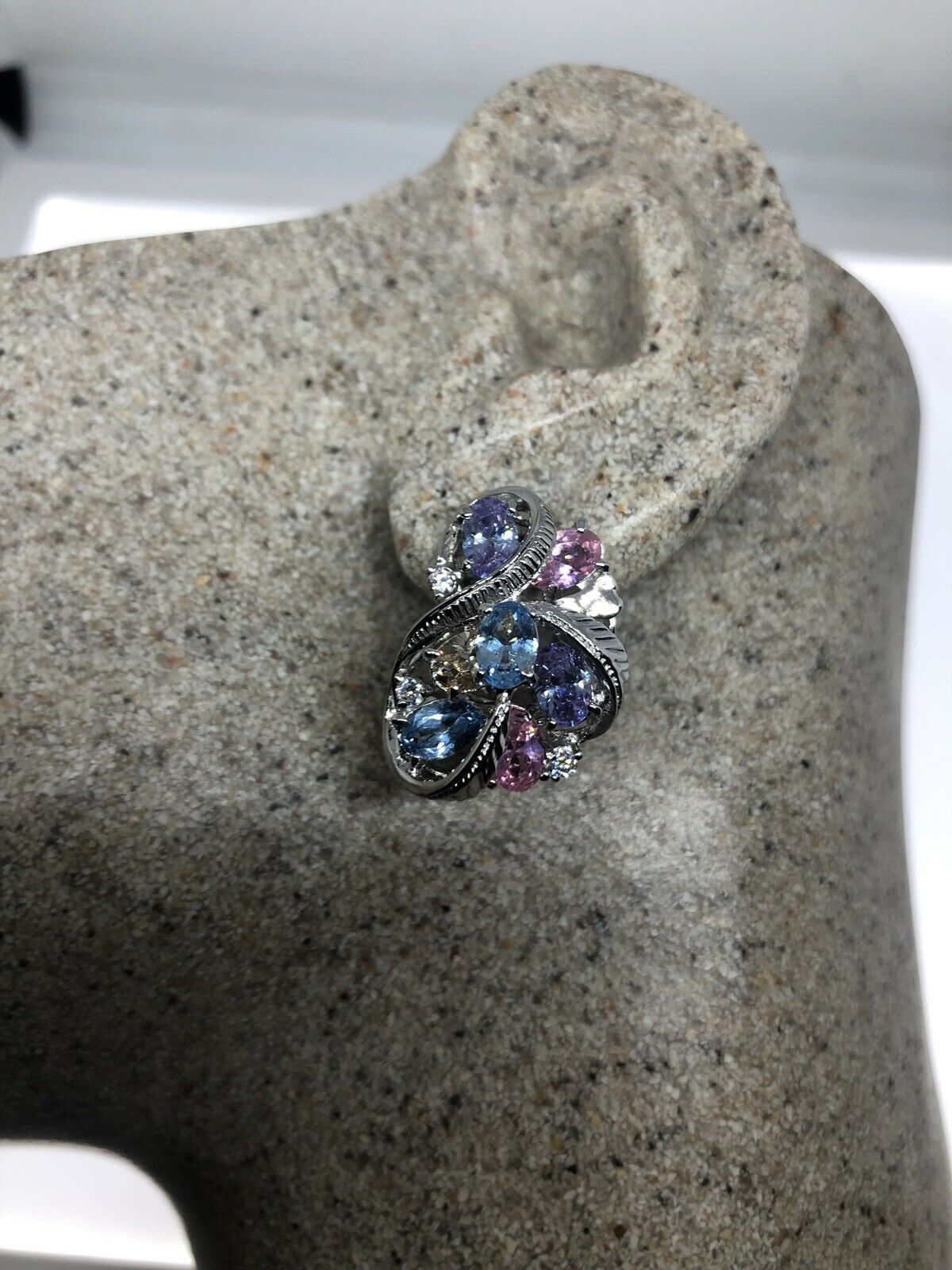 Primary image for VINTAGE CZ EARRINGS 925 STERLING SILVER