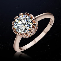 0.7cm Zircon Crown Rings Women Rose Gold Color Brand Wedding Female Crys... - $11.80