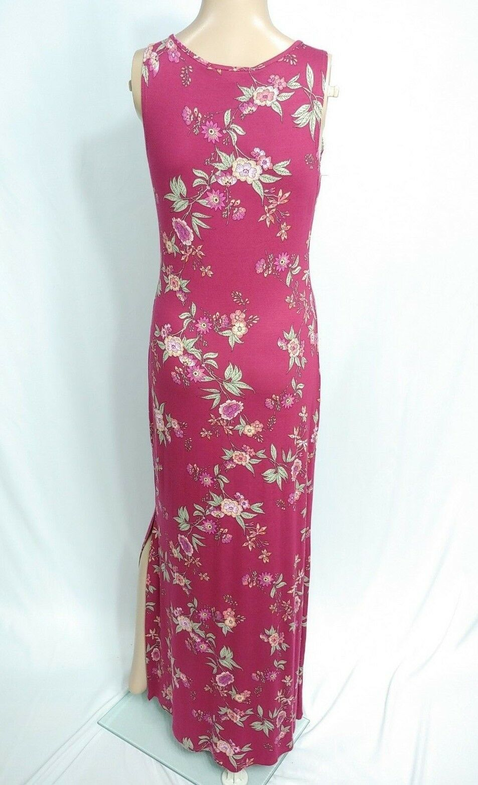 NWT Modcloth Pink Rose Burgundy Red Pink Poppy Floral Cut Out Maxi Sundress M