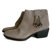 White Mountain Taupe Suede Ankle Boots Size 8 Havana Booties Boho Beaded Tassels - £22.23 GBP