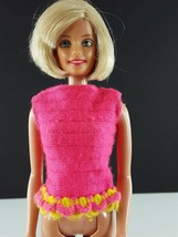 Barbie 1115 Talking Barbie Top Hot Pink Yellow Trim Original 1960s Clothing - $14.84
