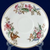 Wedgwood Sandon Orphan Saucer WD4010 Flowers Butterflies Bone China - $5.00