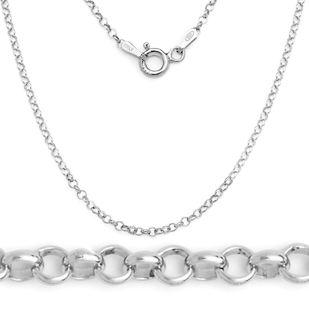 Italian 2mm Sterling Silver Rhodium Open Rolo Circle Cable Link Chain Necklace