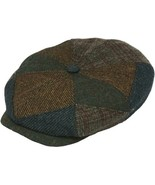 Henschel Wool Blend 8/4 Newsboy Cap Cotton Lining Closed Back Brown Patc... - $49.00